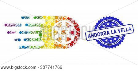 Rainbow Vibrant Vector Bolide Wheel Mosaic For Lgbt, And Andorra La Vella Textured Rosette Stamp Sea