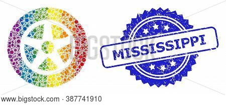 Spectrum Colorful Vector Car Wheel Collage For Lgbt, And Mississippi Scratched Rosette Seal. Blue St