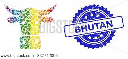 Bright Colored Vector Cow Head Mosaic For Lgbt, And Bhutan Dirty Rosette Stamp Seal. Blue Stamp Seal