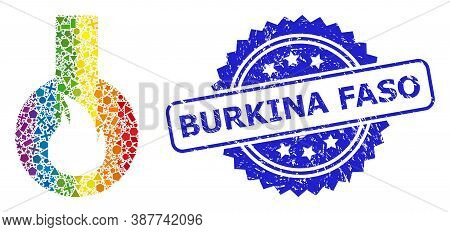 Bright Vibrant Vector Flammable Flask Collage For Lgbt, And Burkina Faso Corroded Rosette Seal. Blue