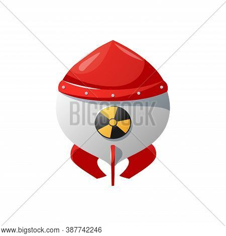 Nuclear Rocket In Cartoon Style. Nuclear Weapons , Bomb.