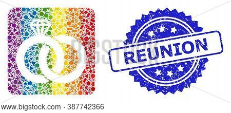 Rainbow Vibrant Vector Diamond Wedding Rings Collage For Lgbt, And Reunion Rubber Rosette Stamp. Blu