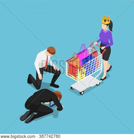 Flat 3d Isometric Businessman Kneeling In Front Of Customer With Crown. Customer Is King And Custome