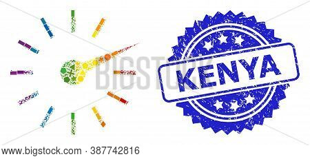 Bright Colorful Vector Clockface Mosaic For Lgbt, And Kenya Corroded Rosette Stamp Seal. Blue Stamp