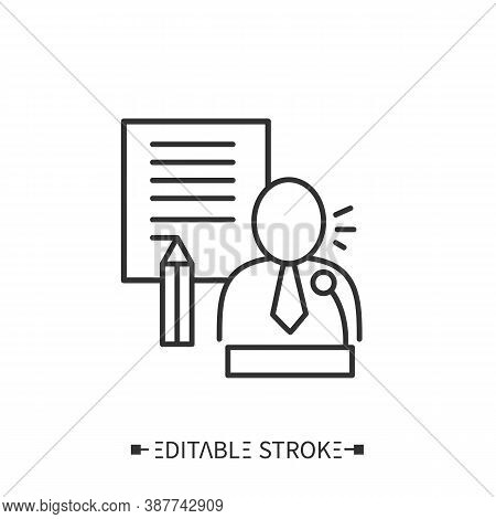 Speechwriting Icon. Public Relations And Effective Speechwriting. Activity Of Writing Speeches For D