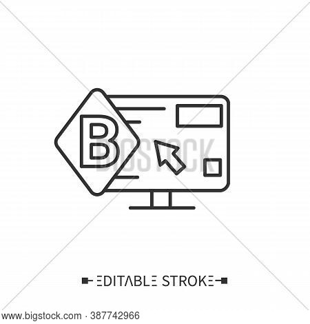 Corporate Website Icon. Webpage With Corporate Logo, Content And Cursor.landing Page For Advertising