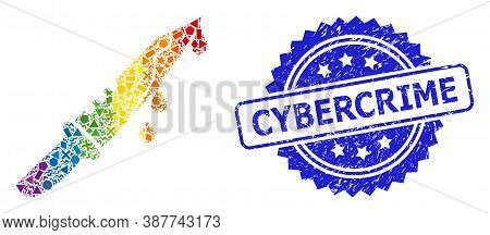 Spectrum Colorful Vector Blood Knife Mosaic For Lgbt, And Cybercrime Textured Rosette Stamp Seal. Bl