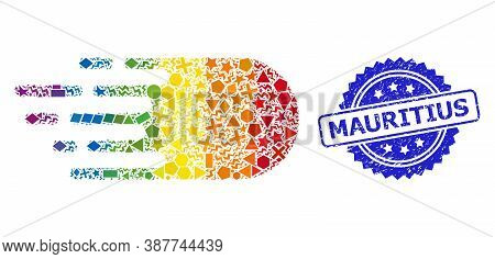 Spectrum Colored Vector Electron Flight Collage For Lgbt, And Mauritius Unclean Rosette Stamp Seal.