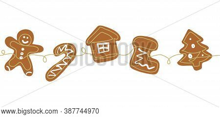 Gingerbread Cookies Christmas Border. One Continuous Line Drawing Of Baked Ginger Bread Man, Tree, H