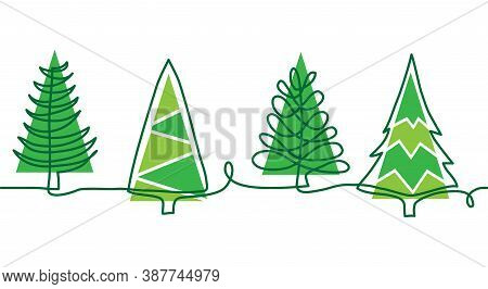 Christmas Pine Trees Doodle Border. One Continuous Line Drawing. Simple Vector Green Christmas Trees