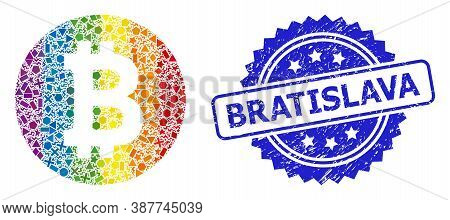 Rainbow Vibrant Vector Bitcoin Coin Mosaic For Lgbt, And Bratislava Unclean Rosette Stamp. Blue Stam
