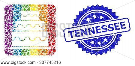 Bright Vibrant Vector Cake Mosaic For Lgbt, And Tennessee Dirty Rosette Seal. Blue Stamp Seal Has Te