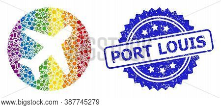 Bright Colorful Vector Airport Collage For Lgbt, And Port Louis Scratched Rosette Seal Print. Blue S