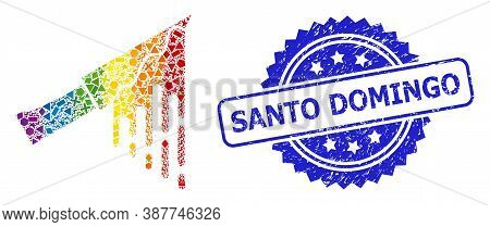 Rainbow Vibrant Vector Bloody Knife Mosaic For Lgbt, And Santo Domingo Rubber Rosette Stamp Seal. Bl