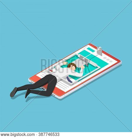 Flat 3d Isometric Businessman Trapped In A Mousetrap On Smartphone. Smartphone Addiction Concept.