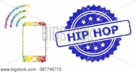 Bright Colored Vector Cellphone Signal Collage For Lgbt, And Hip Hop Textured Rosette Stamp. Blue St