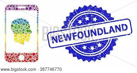 Bright Vibrant Vector Cellphone Profile Mosaic For Lgbt, And Newfoundland Rubber Rosette Stamp. Blue