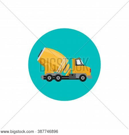 Concrete Mixer Truck Colorful Flat Icon With Long Shadow. Concrete Truck Flat Icon
