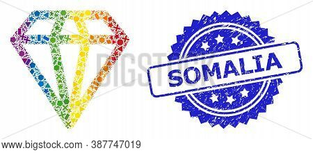 Rainbow Colored Vector Diamond Collage For Lgbt, And Somalia Corroded Rosette Seal Print. Blue Stamp