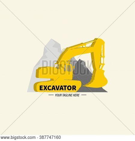 Excavator And Backhoe Logo Template. Vector Illustration.