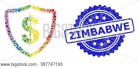 Bright Colored Vector Dollar Protection Mosaic For Lgbt, And Zimbabwe Corroded Rosette Seal Print. B