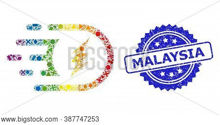 Spectrum Colorful Vector Electric Power Mosaic For Lgbt, And Malaysia Grunge Rosette Seal Imitation.