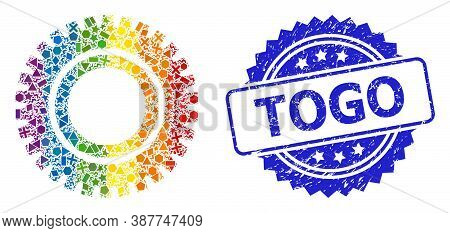 Spectrum Vibrant Vector Clock Gear Collage For Lgbt, And Togo Textured Rosette Stamp Seal. Blue Stam