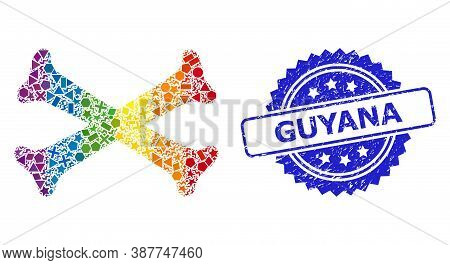 Bright Colored Vector Crossing Bones Mosaic For Lgbt, And Guyana Corroded Rosette Stamp Seal. Blue S