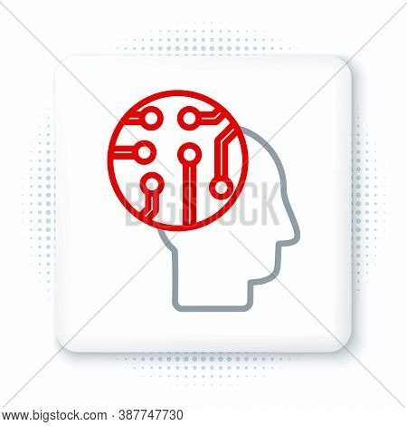 Line Human Brain As Digital Circuit Board Icon Isolated On White Background. Human Head Outline With