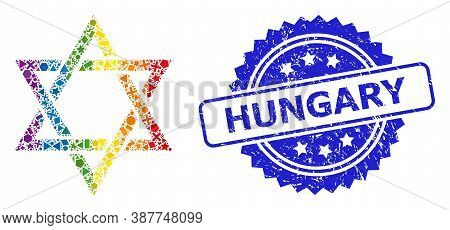 Bright Colored Vector David Star Collage For Lgbt, And Hungary Textured Rosette Stamp Seal. Blue Sta