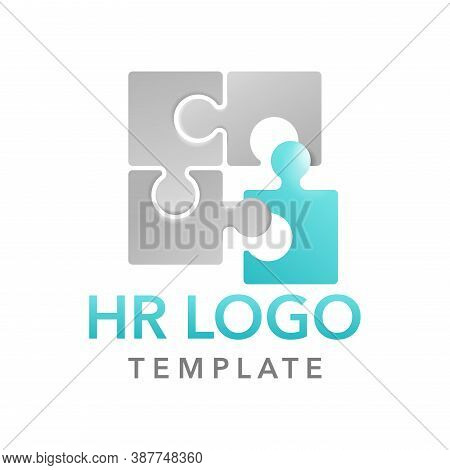 Hr Or Hiring Logo Template For Working Team, Community Or Hr-company In Form Of Puzzle Fragments