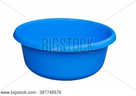 Plastic Basin, Blue Basin Isolated On White Background For Clothes After Washing