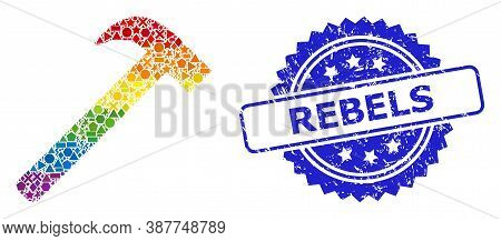 Spectrum Colorful Vector Hammer Tool Collage For Lgbt, And Rebels Corroded Rosette Stamp Seal. Blue
