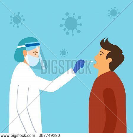 Mouth Saliva Test Using Swab Concept Vector Illustration. Covid-19 Coronavirus Or Dna Test. Doctor K