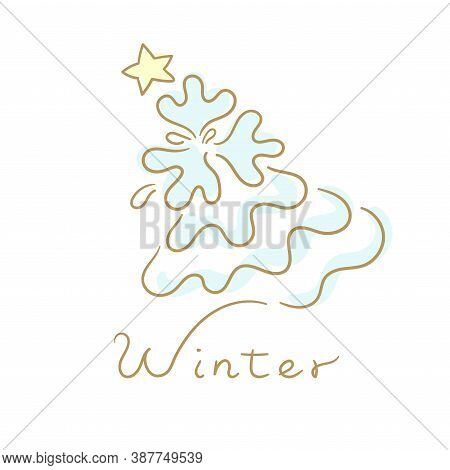 Concept Of Winter. A X'mas Tree And Star With White Background. Vector Flat Illustration.