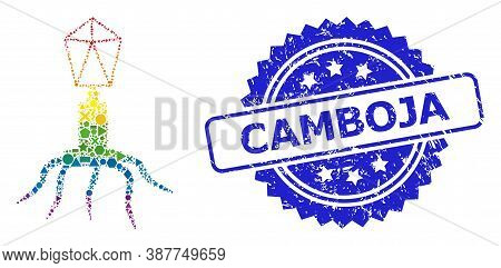 Bright Vibrant Vector Virus Collage For Lgbt, And Camboja Dirty Rosette Stamp Seal. Blue Stamp Seal