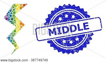 Bright Vibrant Vector Thunder Crack Collage For Lgbt, And Middle Rubber Rosette Stamp Seal. Blue Sta