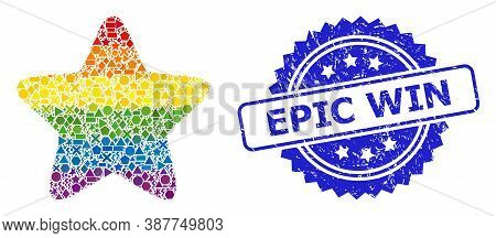 Bright Colored Vector Red Star Collage For Lgbt, And Epic Win Textured Rosette Seal Imitation. Blue