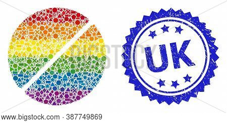 Rainbow Vibrant Vector Medication Tablet Mosaic For Lgbt, And Uk Dirty Rosette Seal Imitation. Blue