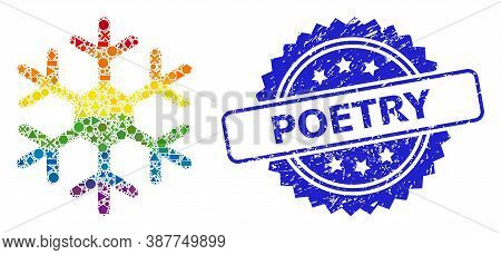 Spectrum Colored Vector Snowflake Mosaic For Lgbt, And Poetry Dirty Rosette Stamp Seal. Blue Stamp S
