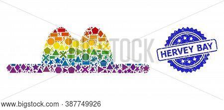Spectrum Vibrant Vector Hat Collage For Lgbt, And Hervey Bay Dirty Rosette Stamp Seal. Blue Stamp Se