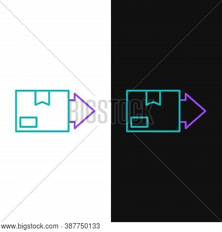 Line Carton Cardboard Box Icon Isolated On White And Black Background. Box, Package, Parcel Sign. De