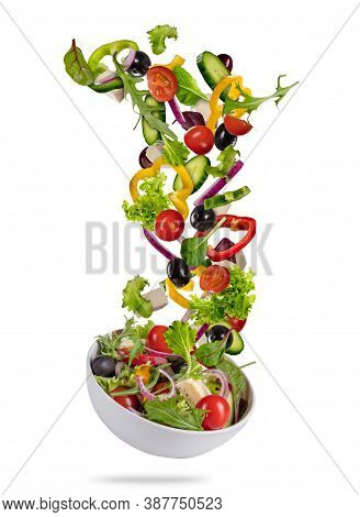Fresh And Healthy Salad - Balanced Diet Food. Canned Tuna, Tomatoes, Cucumbers, Romaine Salad, Red O