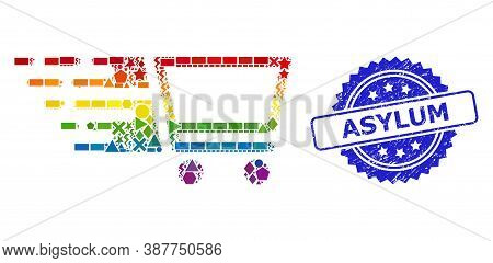 Rainbow Colored Vector Shopping Cart Collage For Lgbt, And Asylum Corroded Rosette Stamp. Blue Stamp