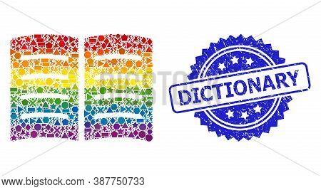Rainbow Colored Vector Open Book Collage For Lgbt, And Dictionary Scratched Rosette Stamp. Blue Stam