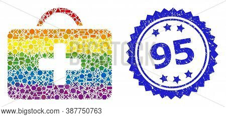 Rainbow Colorful Vector Medical Case Collage For Lgbt, And 95 Dirty Rosette Stamp Seal. Blue Stamp S