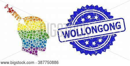 Bright Colored Vector Head Injection Collage For Lgbt, And Wollongong Scratched Rosette Stamp Seal.