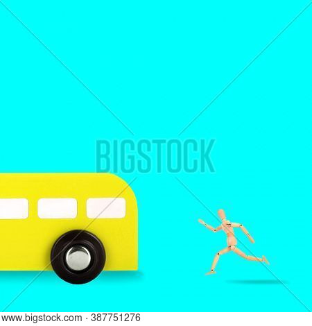 Trendy photo wooden man is chasing bus colorful concept