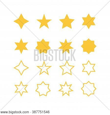 Stars Icons Collection. Yellow Bold And Outline Stars. Isolated Quality Symbol. Success Abstract Sta
