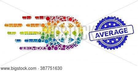 Rainbow Vibrant Vector Tire Wheel Collage For Lgbt, And Average Unclean Rosette Seal Print. Blue Sea